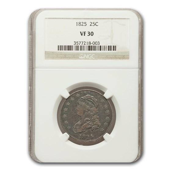 1825 Capped Bust Quarter VF-30 NGC