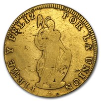 1826-1840 Peru Gold 8 Escudos Avg Circ (Random)