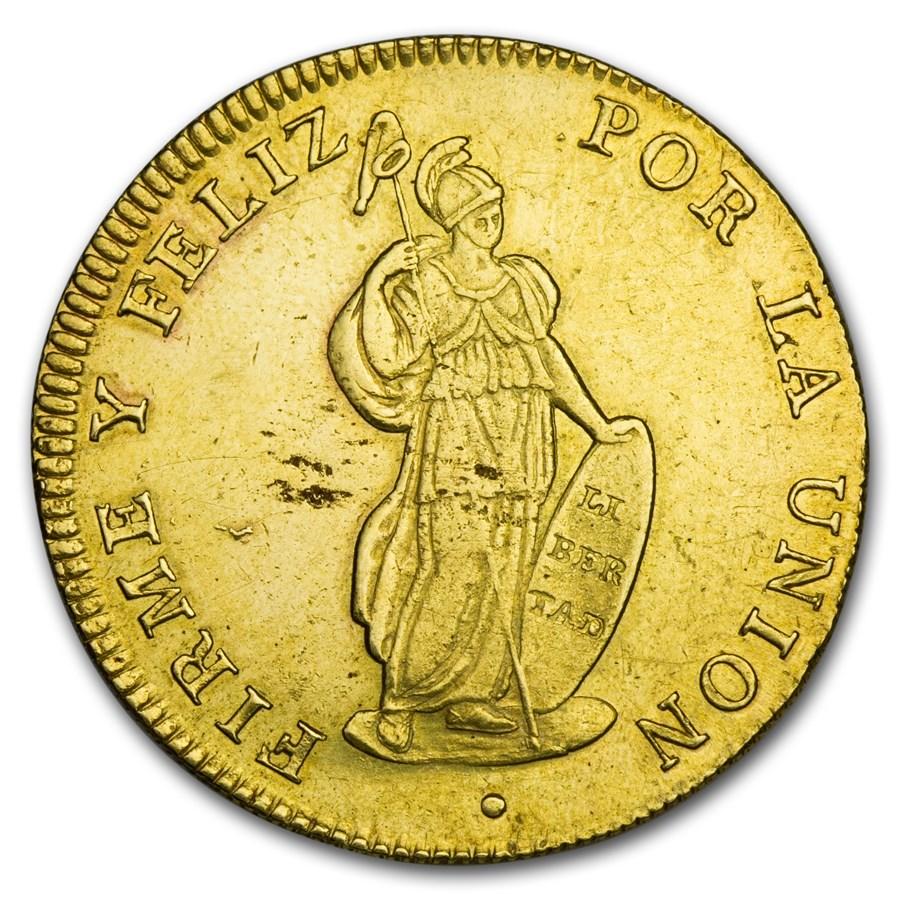 1826-1840 Peru Gold 8 Escudos XF (Random)