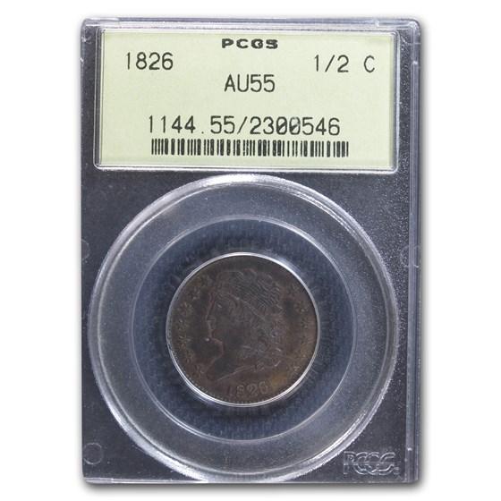 1826 Half Cent AU-55 PCGS (Brown)