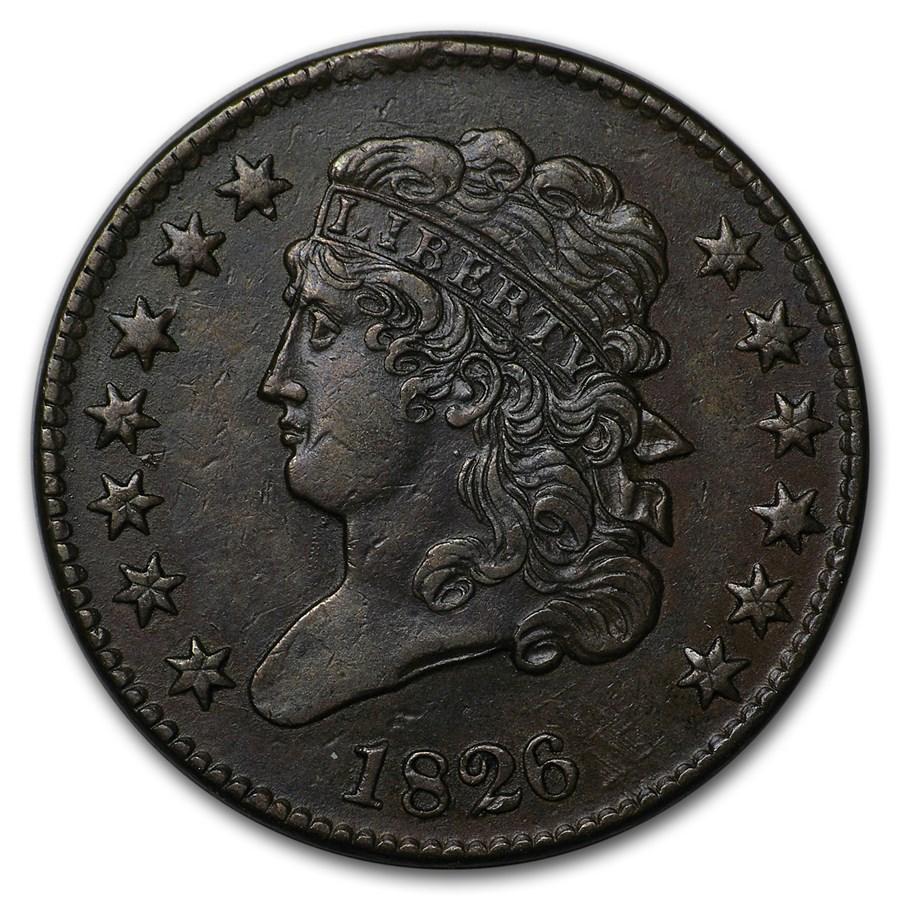 1826 Half Cent AU-58