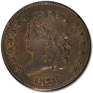 1826 Half Cent AU Details