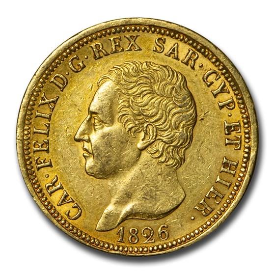1826 Kingdom of Sardinia Gold 80 Lire Calo Felice AU