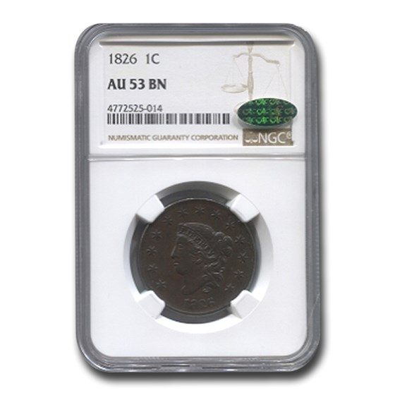1826 Large Cent AU-53 NGC CAC (Brown)
