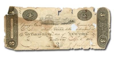 1826 The Jersey Bank, Jersey City,NJ $3.00 Note NJ-246 VG details