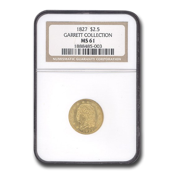 1827 $2.50 Capped Bust Gold Quarter Eagle MS-61 NGC