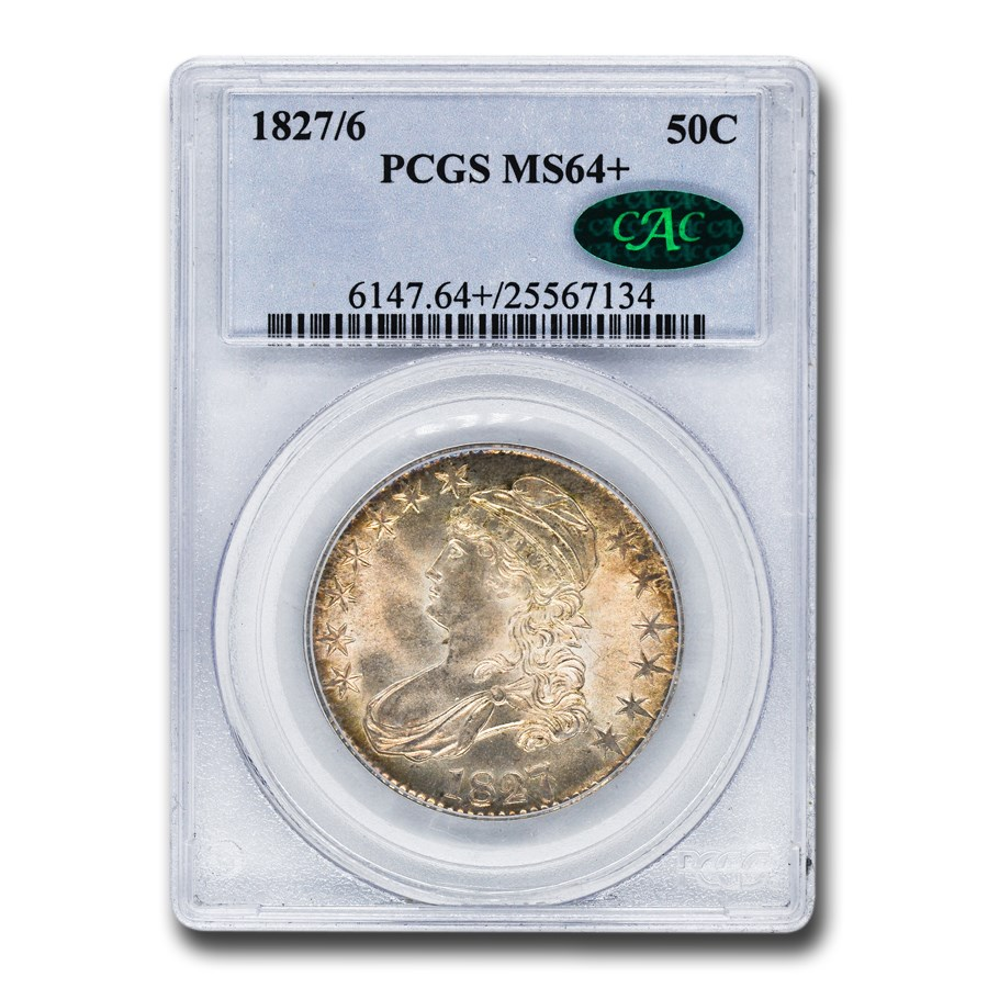 1827/6 Capped Bust Half Dollar MS-64+ PCGS CAC