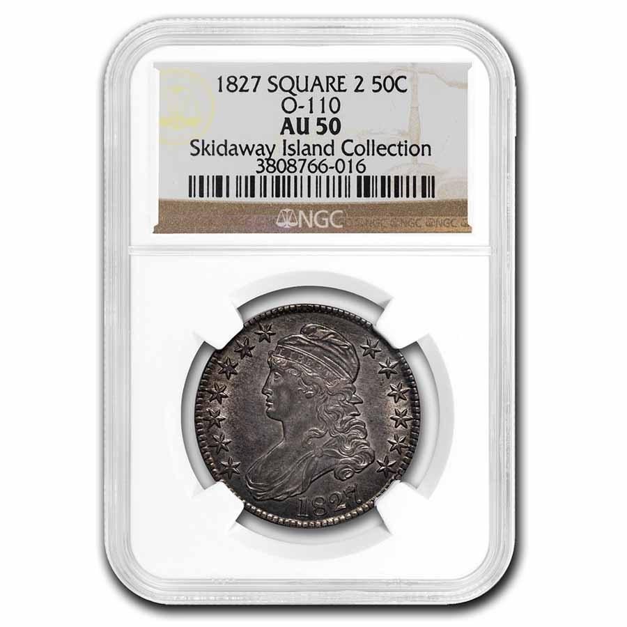 1827 Bust Half Dollar AU-50 NGC (Square Base 2)
