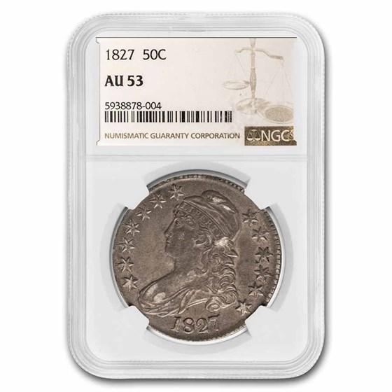 1827 Bust Half Dollar AU-53 NGC (Square Base 2)