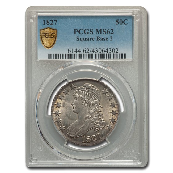 1827 Capped Bust Half Dollar MS-62 PCGS (Sq Base 2)