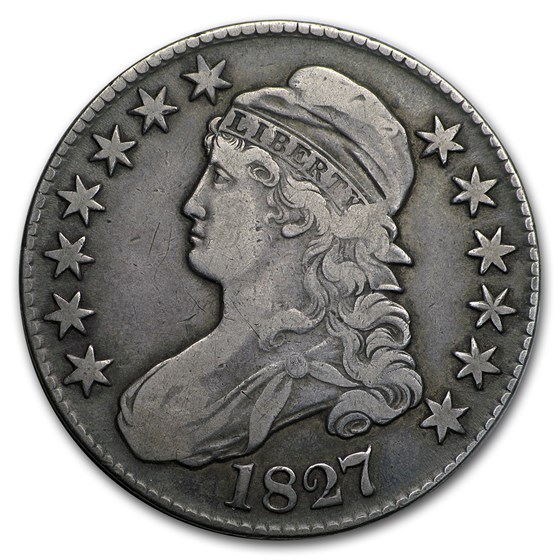 1827 Capped Bust Half Dollar Square Base 2 Fine