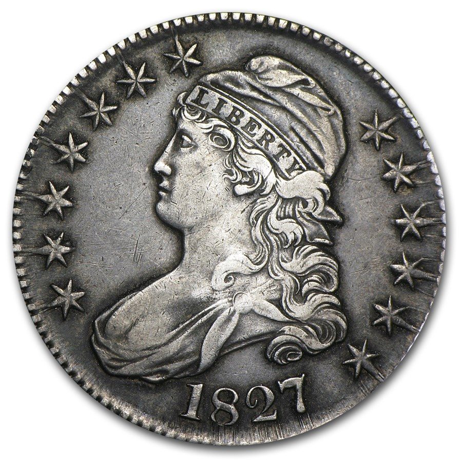 1827 Capped Bust Half Dollar Square Base 2 XF
