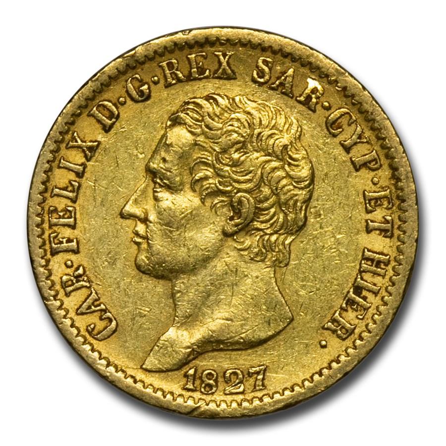 1827 Kingdom of Sardinia Gold 20 Lire Calo Felice XF