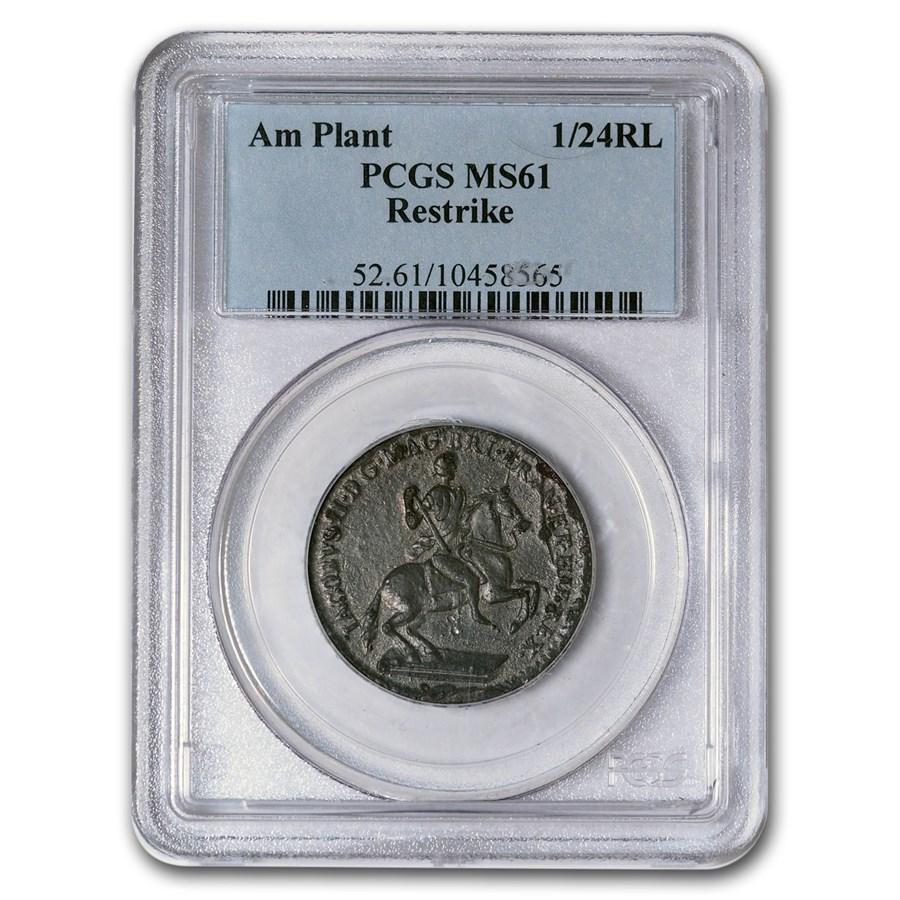1828 American Plantation Restrike 1/24 Real MS-61 PCGS