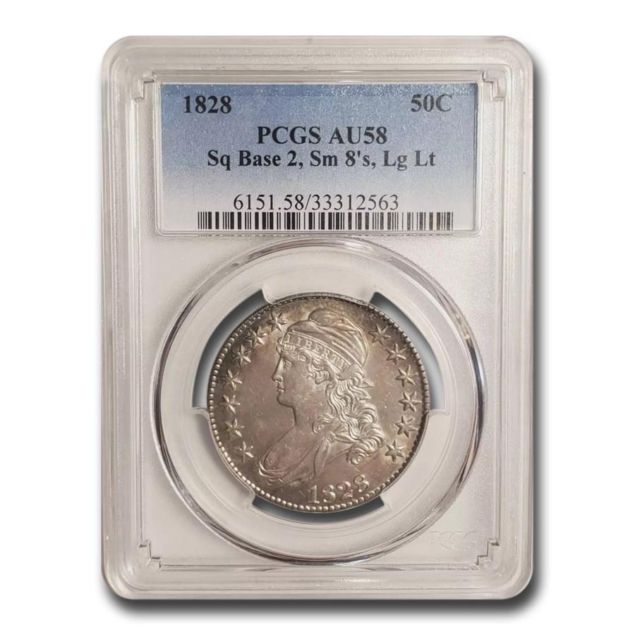 1828 Capped Bust Half Dollar AU-58 PCGS (Sq Base 2, Sm 8, Lg Let)