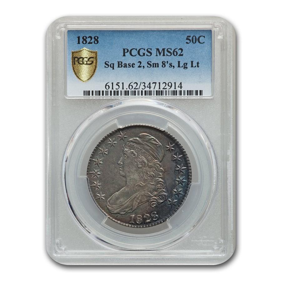 1828 Capped Bust Half Dollar MS-62 PCGS (Sq Base 2, Sm 8's Lg Lt)
