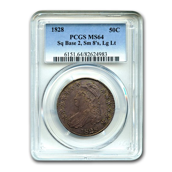1828 Capped Bust Half Dollar MS-64 PCGS (Sq 2, Sm 8, Lg Letters)