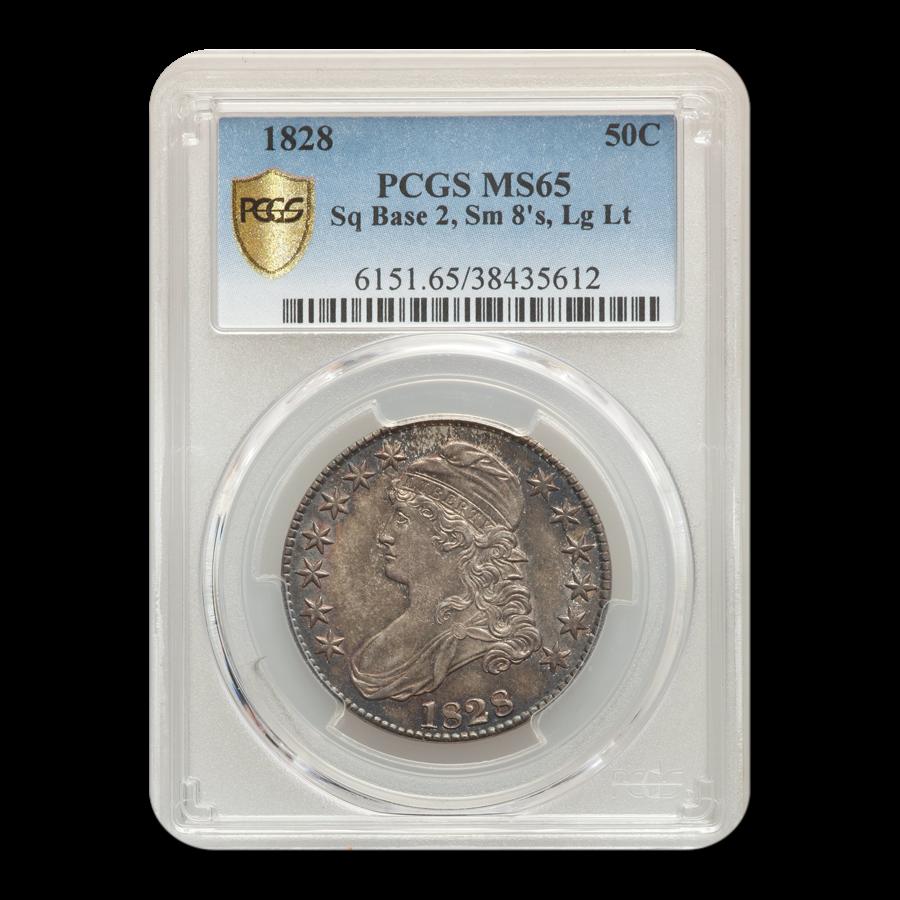 1828 Capped Bust Half Dollar MS-65 PCGS (Sq Base 2 Sm 8's, Lg Lt)