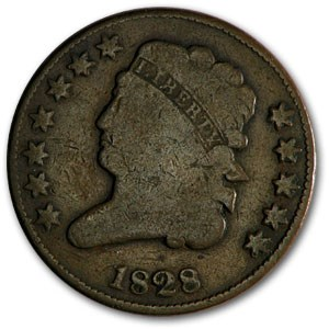 1828 Half Cent 12 Stars VG