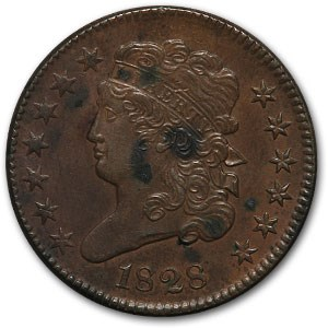1828 Half Cent 13 Stars AU Details (Cleaned)