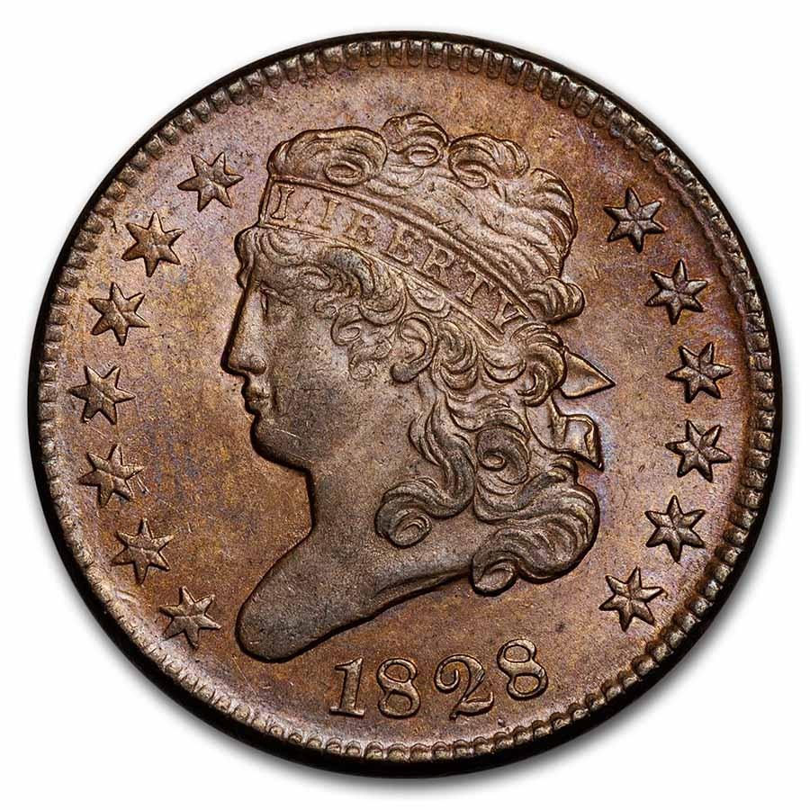 1828 Half Cent 13 Stars BU (Brown)