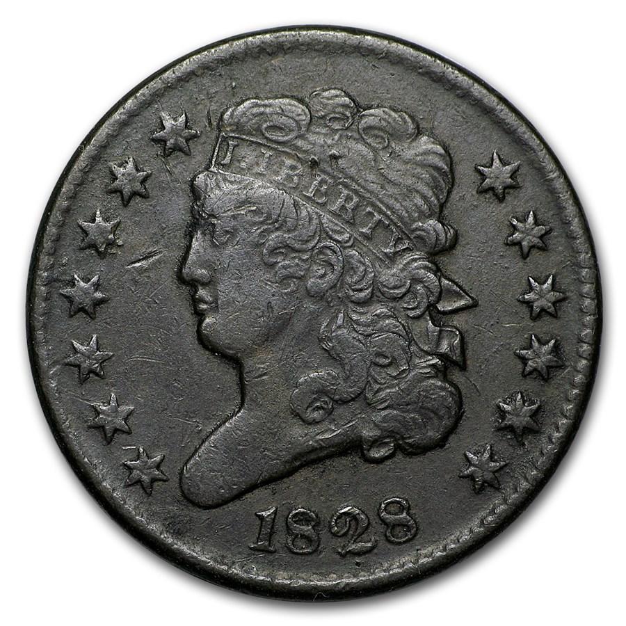 1828 Half Cent 13 Stars VF