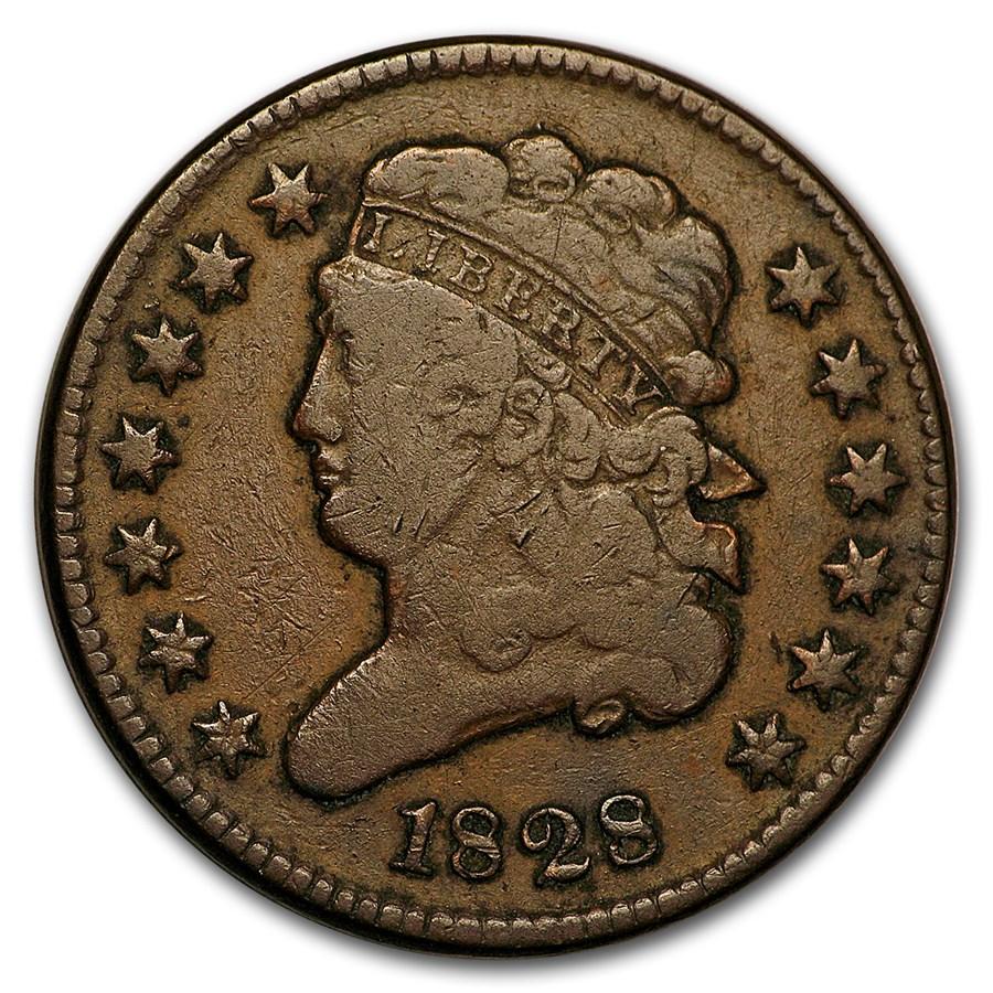 1828 Half Cent 13 Stars VG