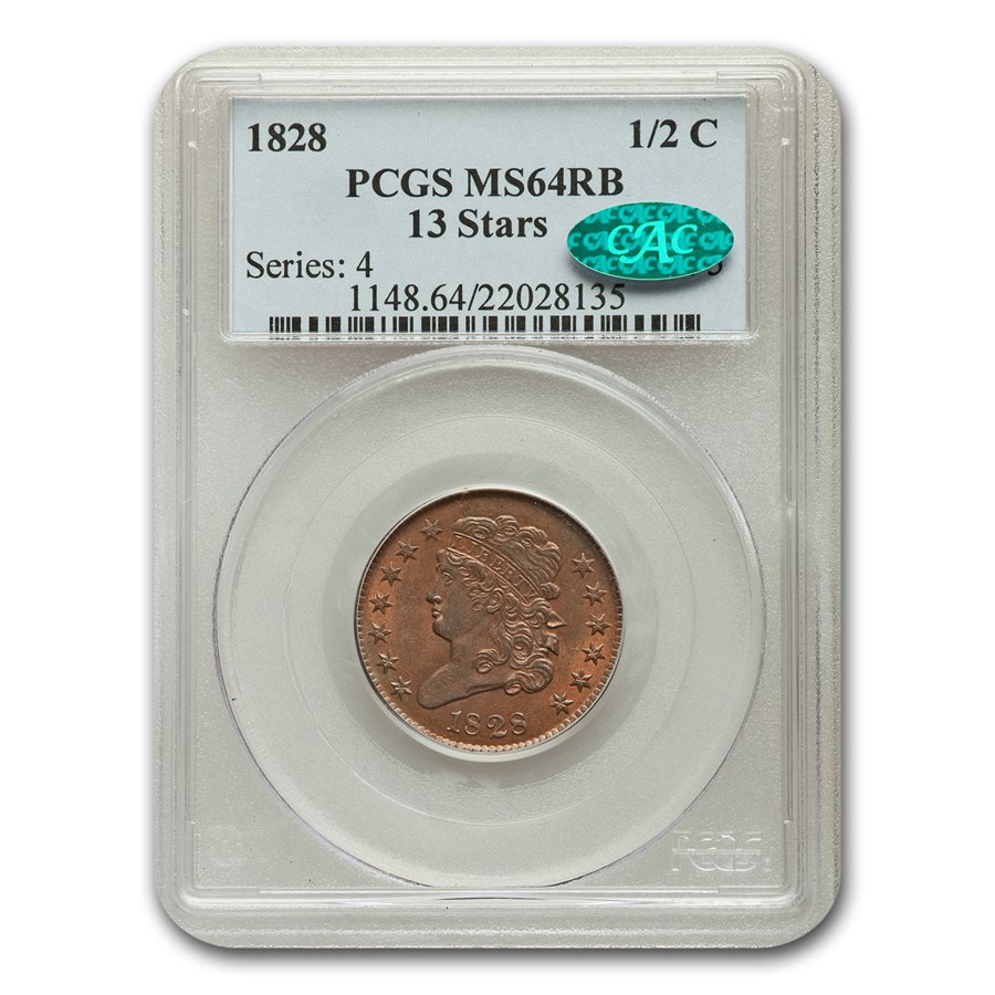 1828 Half Cent MS-64 PCGS CAC (Red/Brown, 13 Stars)