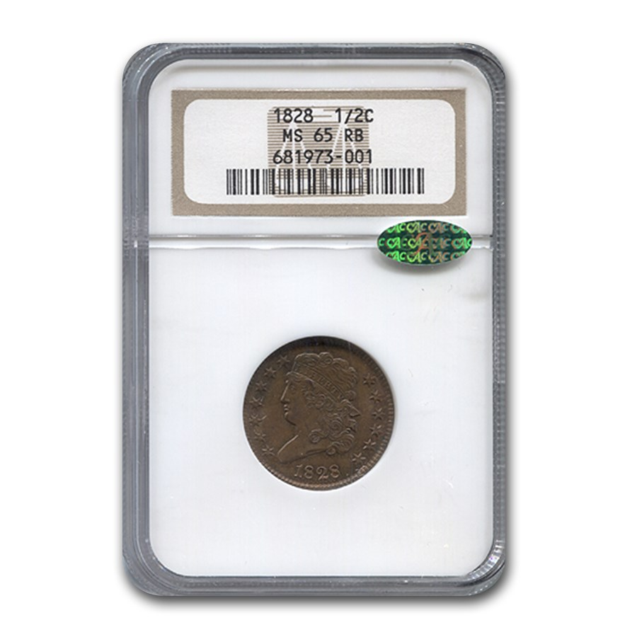 1828 Half Cent MS-65 NGC CAC (Red/Brown)