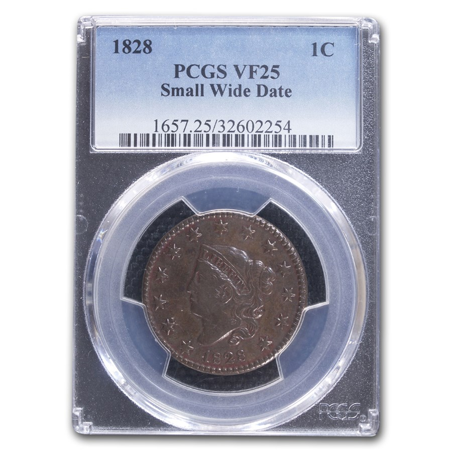 1828 Large Cent VF-25 PCGS (Brown, Small Wide Date)
