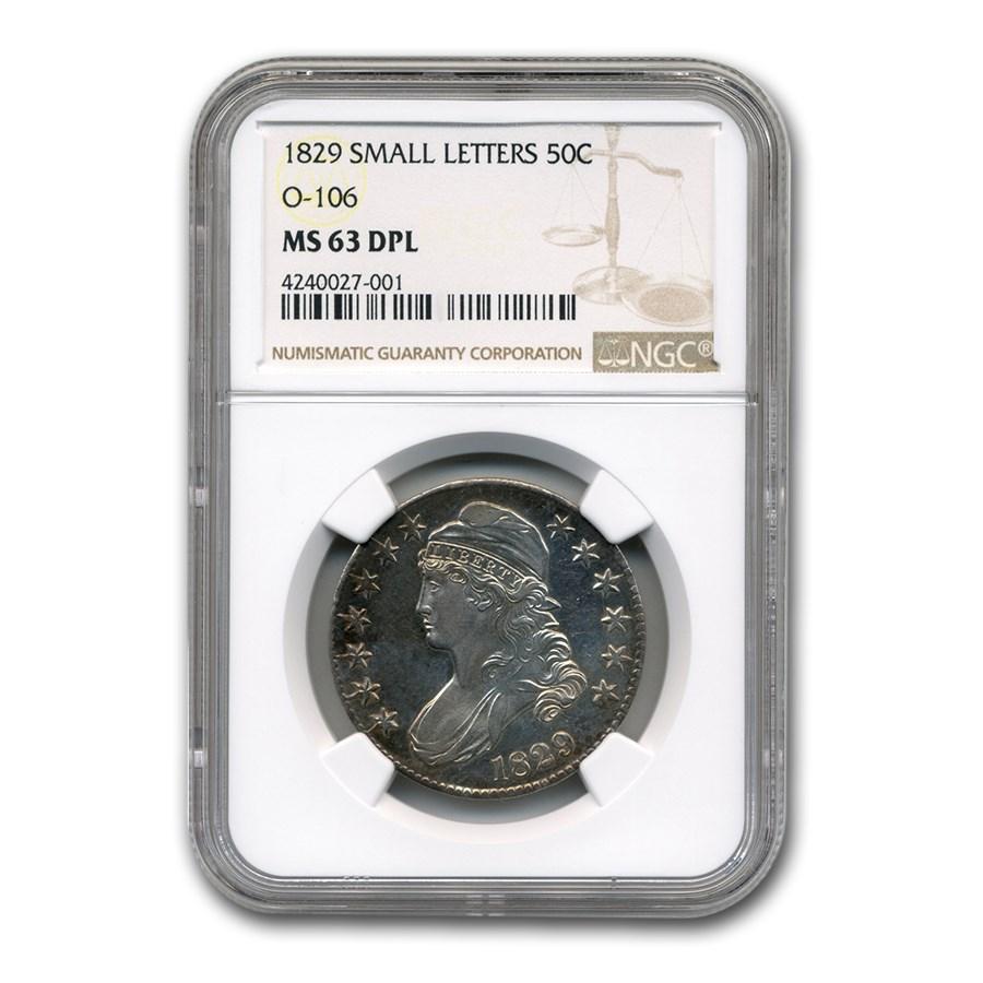 1829 Bust Half Dollar MS-63 DPL NGC (O-106, Sm Letters)