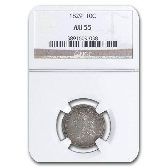 1829 Capped Bust Dime AU-55 NGC