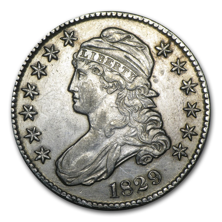 1829 Capped Bust Half Dollar AU Details (Counting Machine Damage)
