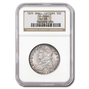 1829 Capped Bust Half Dollar Sm Ltrs AU-58 NGC (O-108A)
