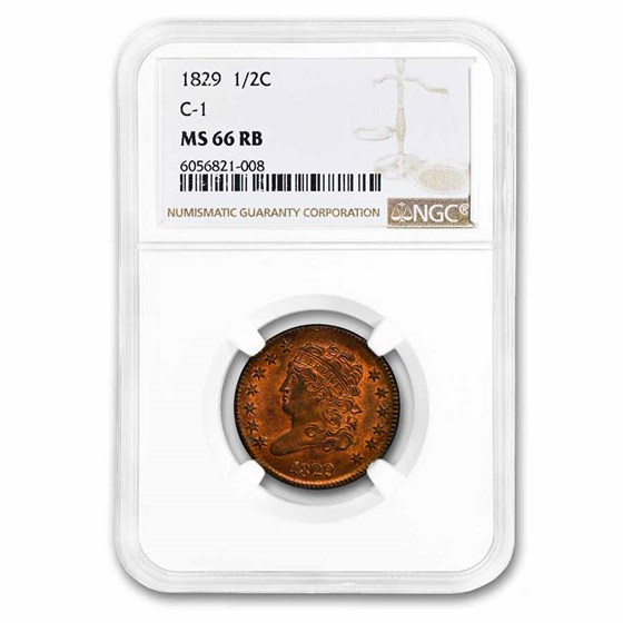1829 Half Cent MS-66 NGC (Red/Brown, C-1)