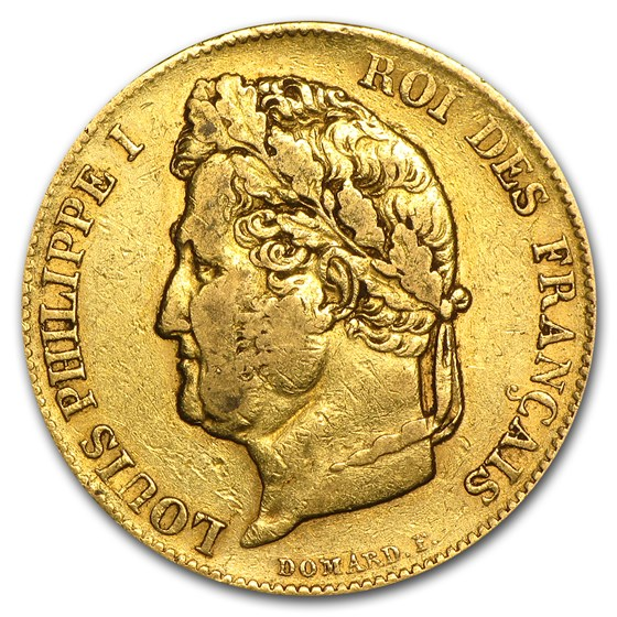 1830-1848 France Gold 20 Francs Louis Philippe (Avg Circ)