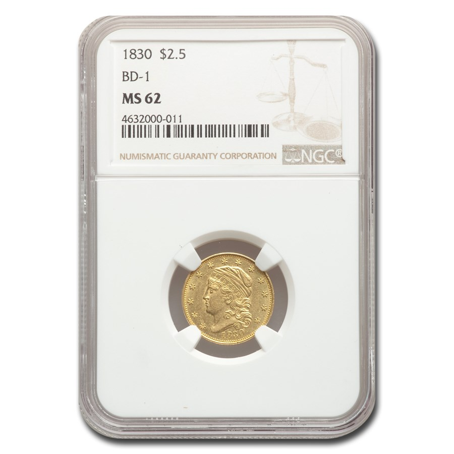 1830 $2.50 Capped Bust Gold Eagle MS-62 NGC (BD-1)
