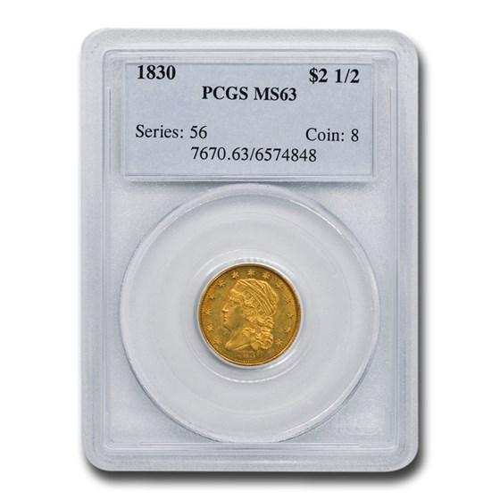 1830 $2.50 Capped Bust Gold Quarter Eagle MS-63 PCGS