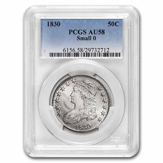 1830 Bust Half Dollar AU-58 PCGS (Small 0)