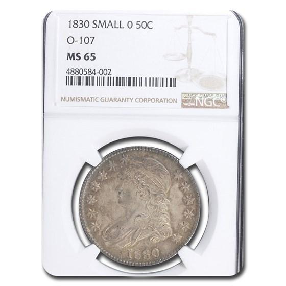 1830 Bust Half Dollar MS-65 NGC (O-107, Small 0)