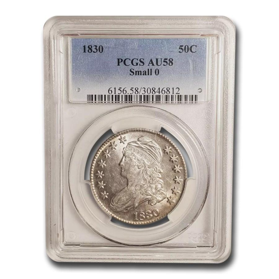 1830 Capped Bust Half Dollar AU-58 PCGS (Small 0)