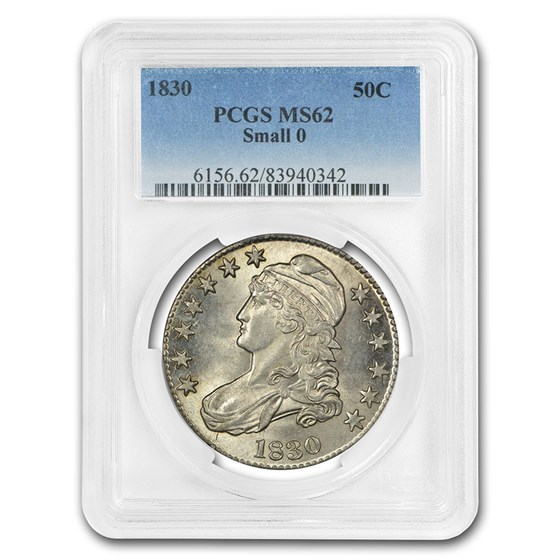 1830 Capped Bust Half Dollar MS-62 PCGS (Small 0)