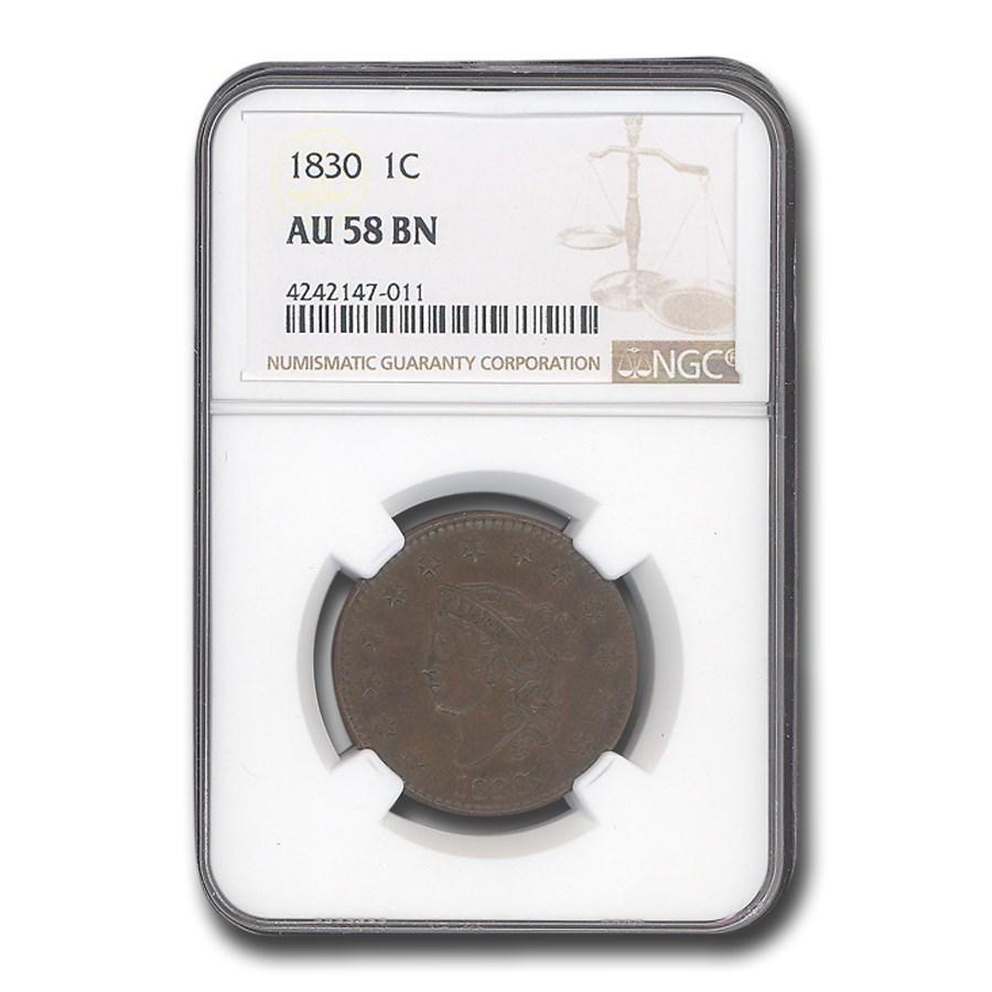 1830 Large Cent AU-58 NGC (Brown)