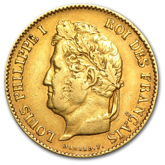1831-1838 France Gold 40 Francs Louis Philippe I (XF)