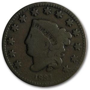 1831 Large Cent Lg Letters VG