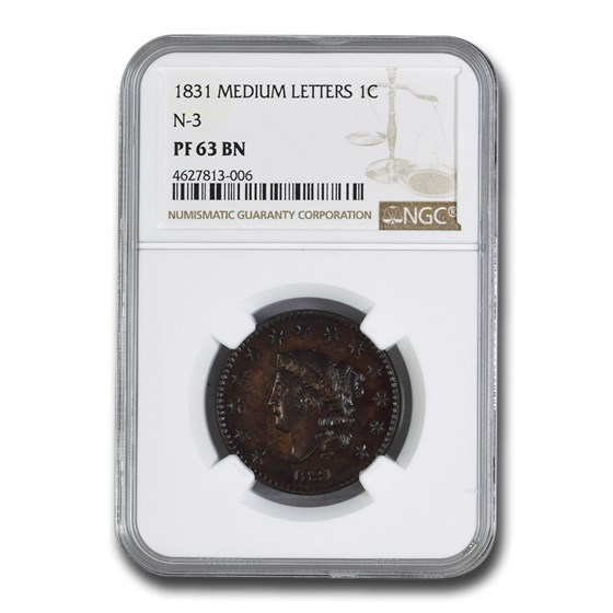 1831 Large Cent PF-63 NGC (BN, Medium Letters, N-3)