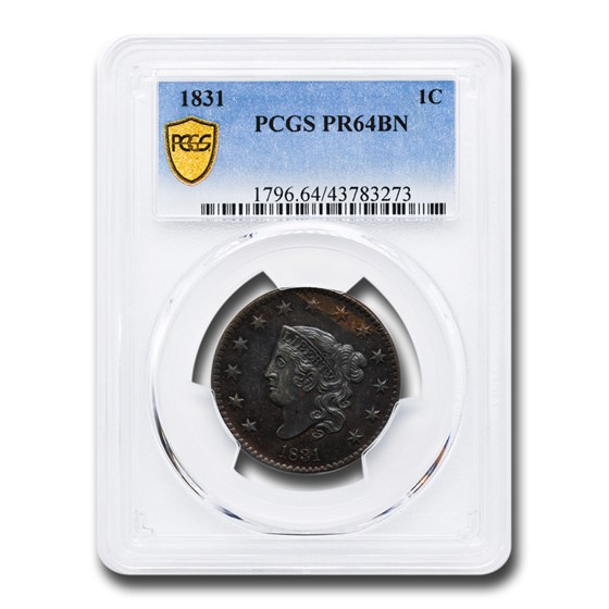 1831 Large Cent PR-64 PCGS (Brown)