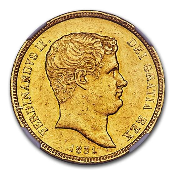 1831 Naples Gold 15 Ducati Ferdinando II AU-55 NGC