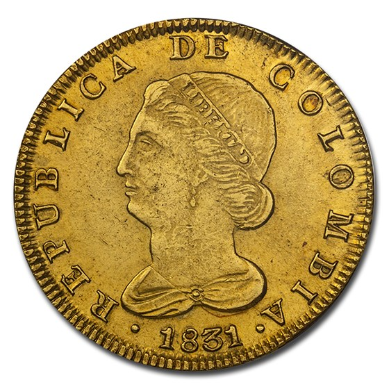 1831 RS Colombia Gold 8 Escudo MS-61 NGC