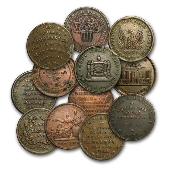 1832-1844 Copper Hard Times Token Avg Circ/VF (Random)